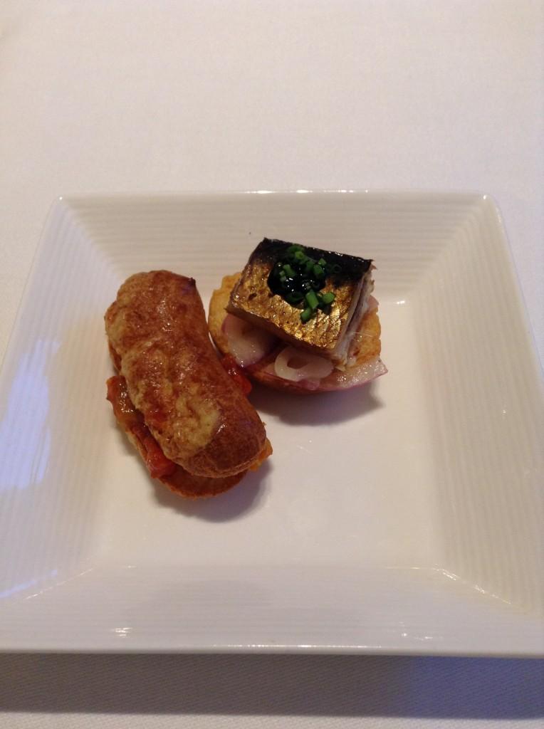 イワシの燻製バルサミコ風味&ラタトゥイユを挟んだグジェール